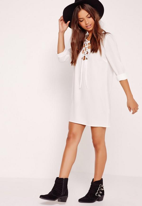 Chambray Oversized Shirt Dress White