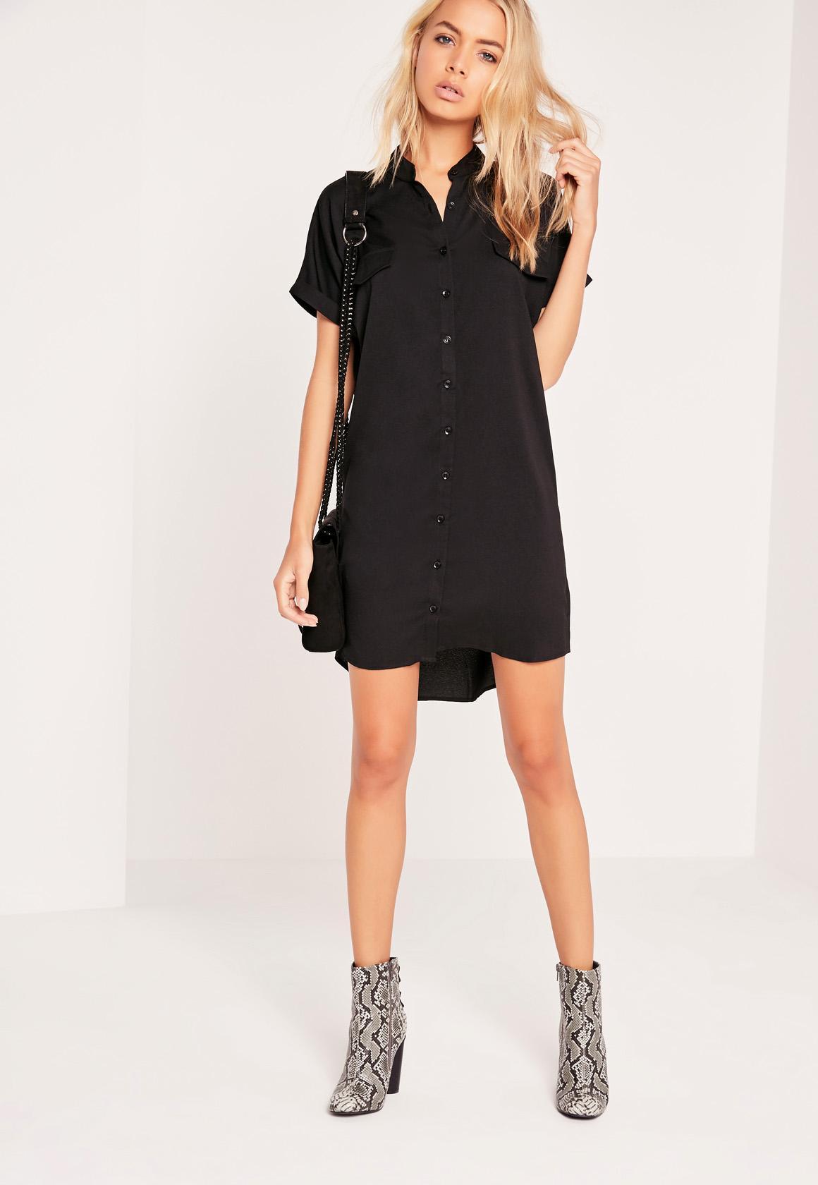Short Sleeve Pocket Shirt Dress Black