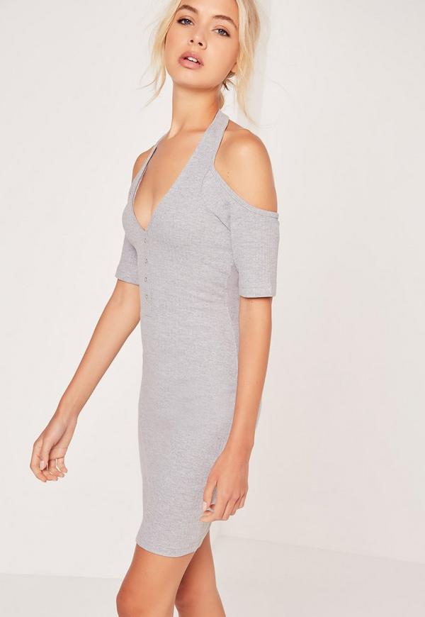 Halterneck Cold Shoulder Ribbed Mini Dress Grey