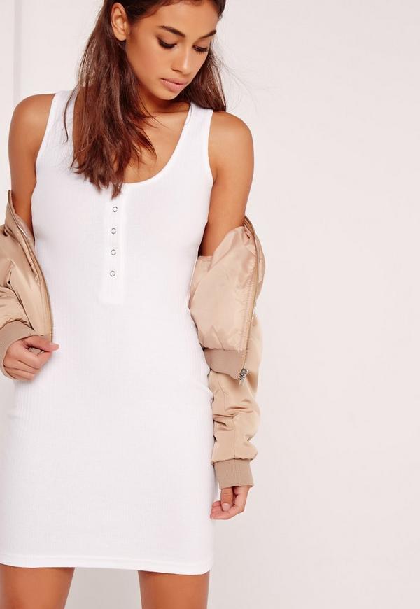 Half Placket Ribbed Mini Dress White