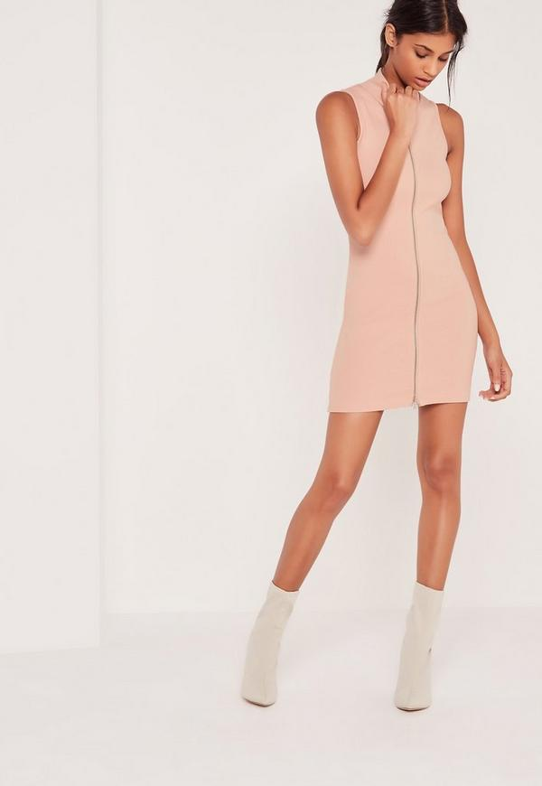 Zip Front Ribbed Mini Dress Nude