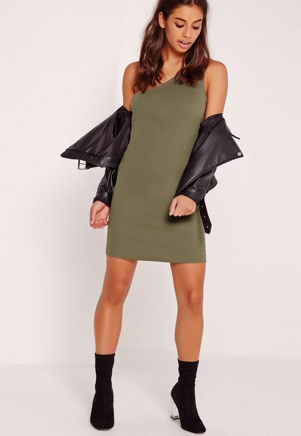 One Shoulder Rib Mini Dress Khaki