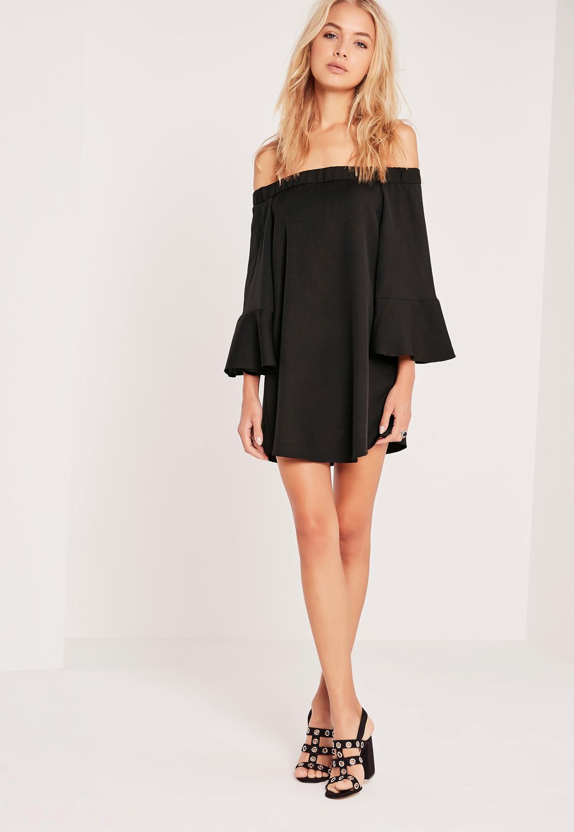 Bardot Bell Sleeve Swing Dress Black