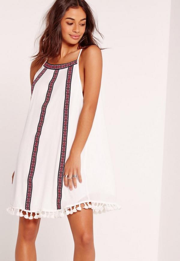 Tassel Curve Hem Swing Dress White