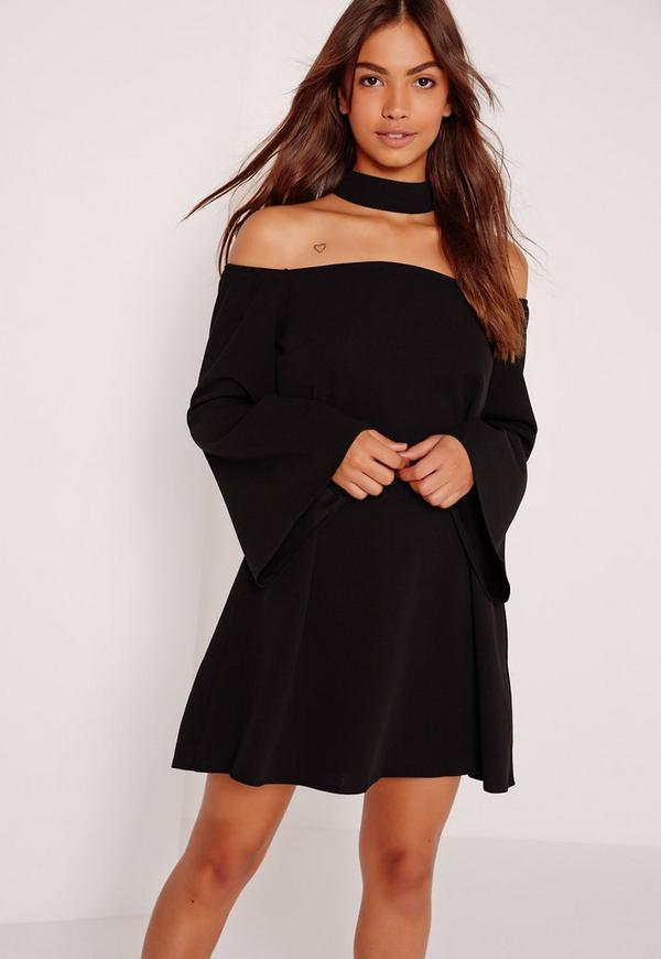 choker neck bardot dress black missguided. Black Bedroom Furniture Sets. Home Design Ideas