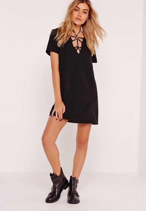 Harness Front Shift Dress Black