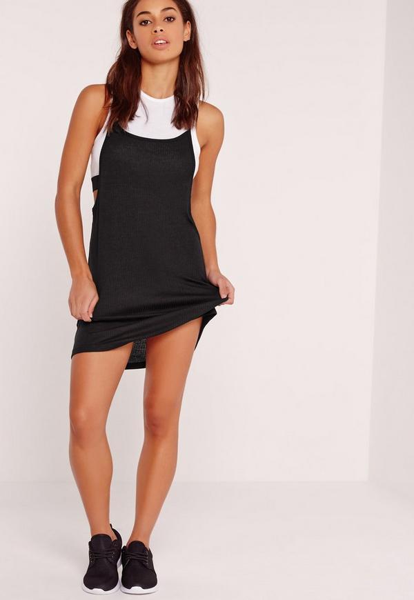 Crop Sports Top 2 in 1 Dress Black
