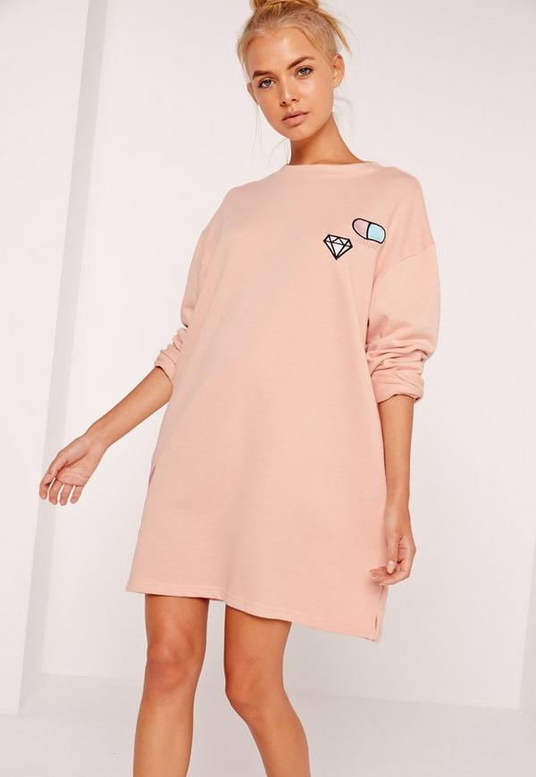 Embroidered Emoji Sweatshirt Dress Pink