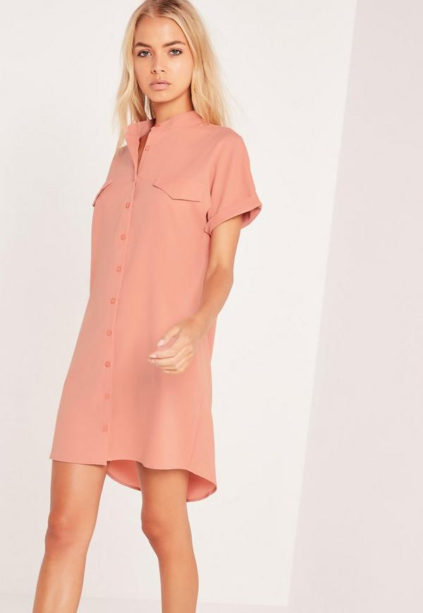 Short Sleeve Pocket Shirt Dress Nude