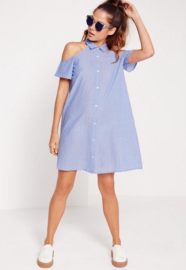 Stripe Cold Shoulder Shirt Dress Blue
