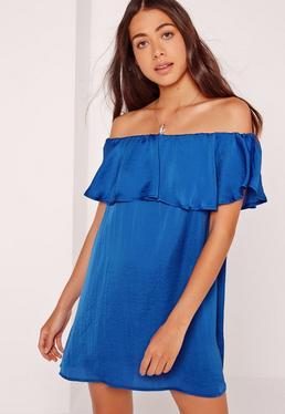 Bardot Frill Swing Dress Blue