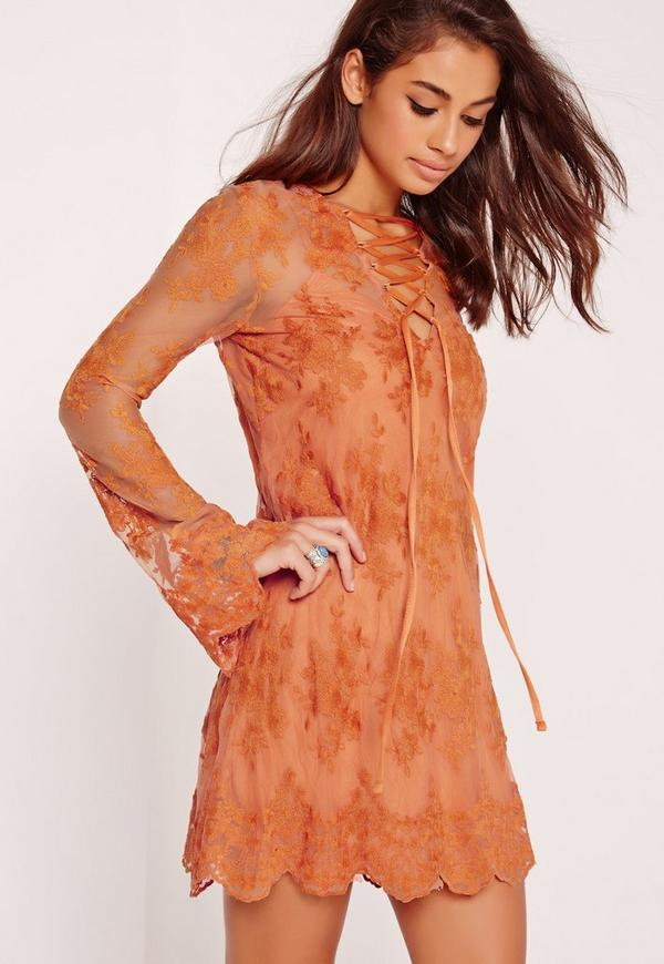 Lace Mesh Lattice Front Dress Orange