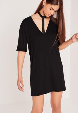 Robe oversize noire effet harnais