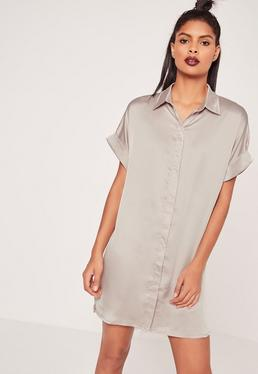 Grey Oversized Satin Short Sleeve Shirt Dress