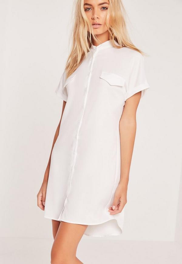 Short sleeve pocket shirt dress white missguided for Short sleeve white dress shirt