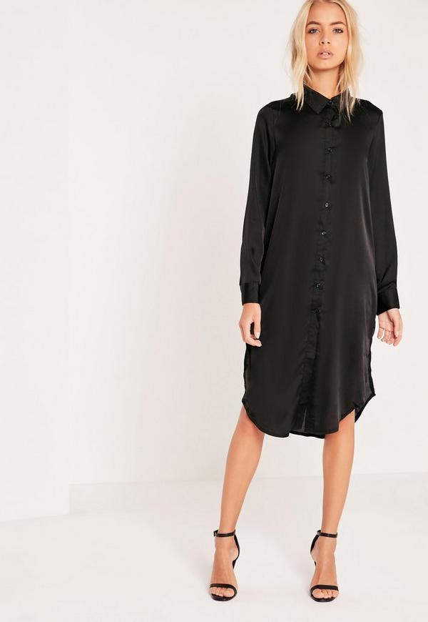 Embroidery Back Shirt Dress Black | Missguided