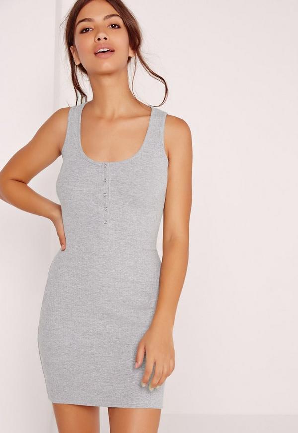 Half Placket Ribbed Mini Dress Grey