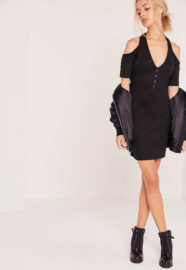 Halterneck Cold Shoulder Ribbed Mini Dress Black