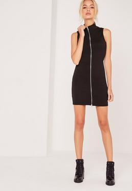 Zip Front Ribbed Mini Dress Black