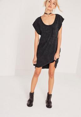 Wash Pocket Oversized T-Shirt Dress Grey