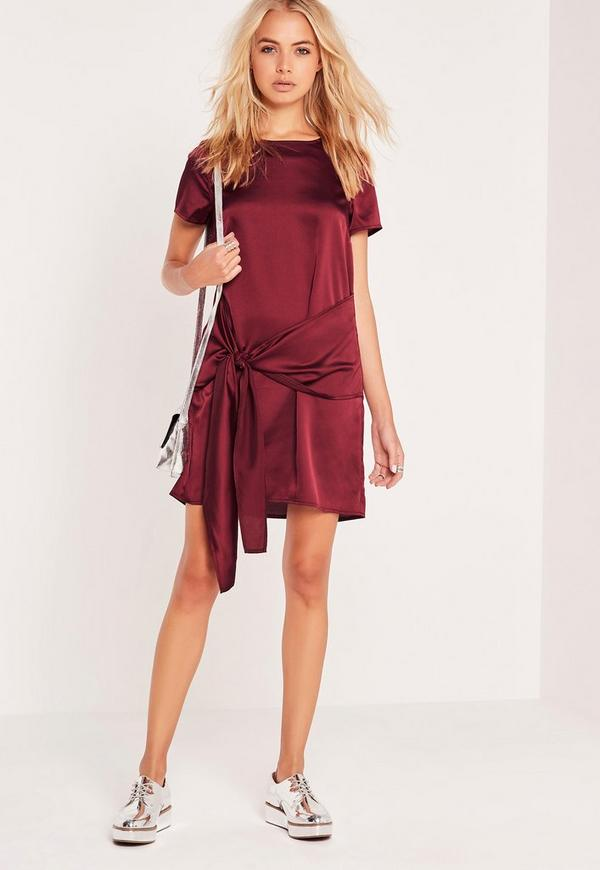 Tie Front Bottom Shift Dress Burgundy