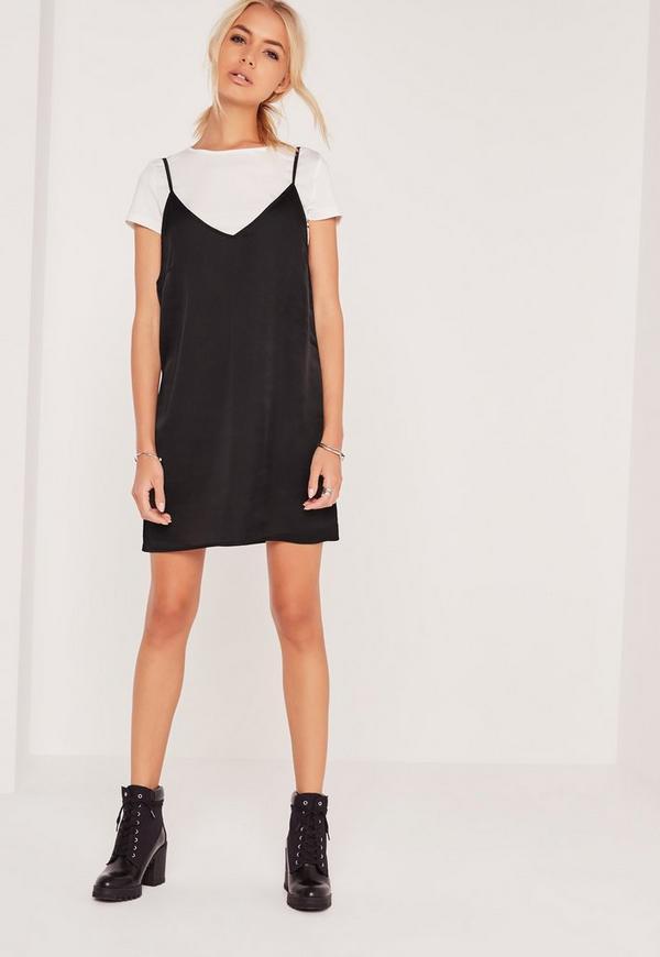 Satin 2-In-1 Dress Black