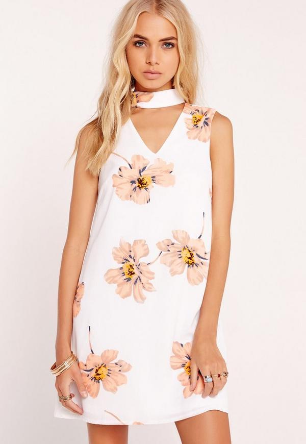 Floral Print Choker Dress White