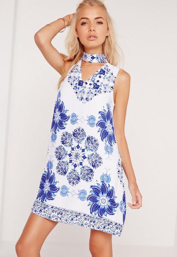 Porcelain Print Choker Dress Blue