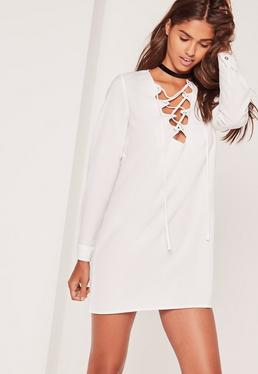Scallop Front Lace Up Shift Dress White