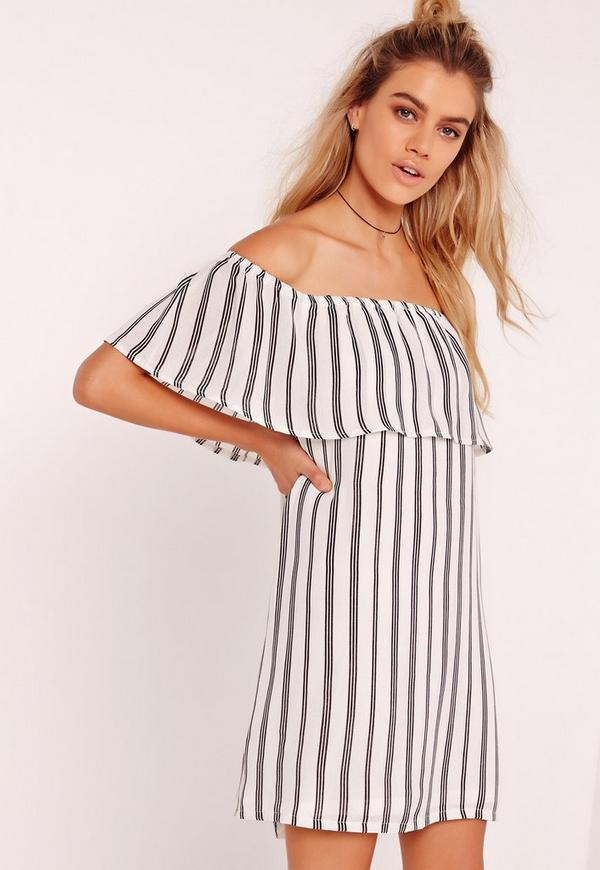 Stripe Bardot Dress Multi