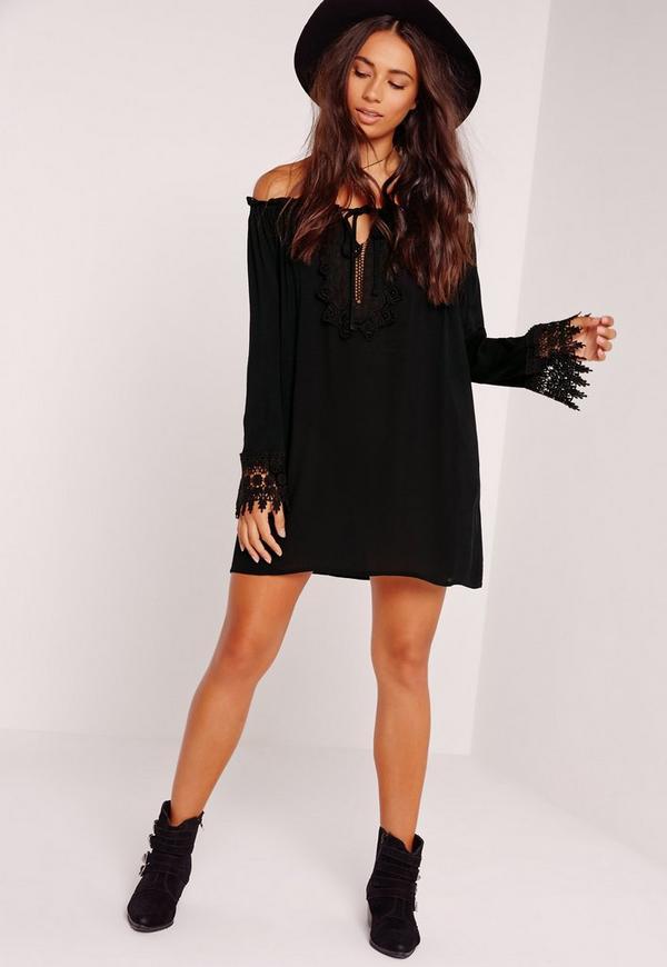 Crochet Bardot Dress Black