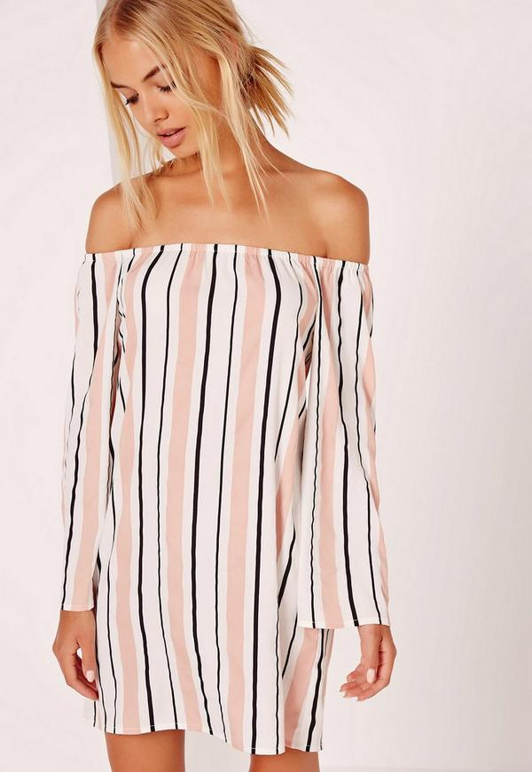 Stripe Bardot Dress Multi