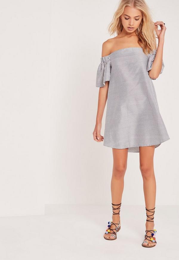 Stripe Bardot Dress White
