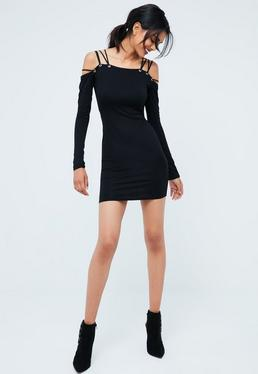 Black Strappy Shoulder Bardot Dress