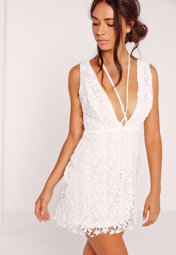 Harness Crochet Flower Swing Dress White