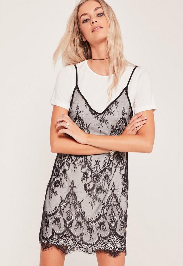 Lace 2 in 1 Dress Black