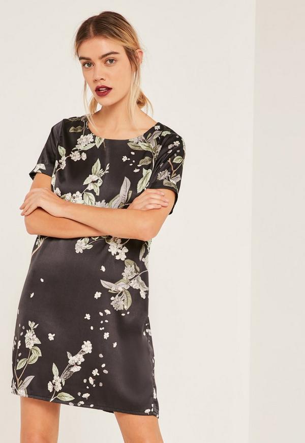 Blossom Print Satin Shift Dress