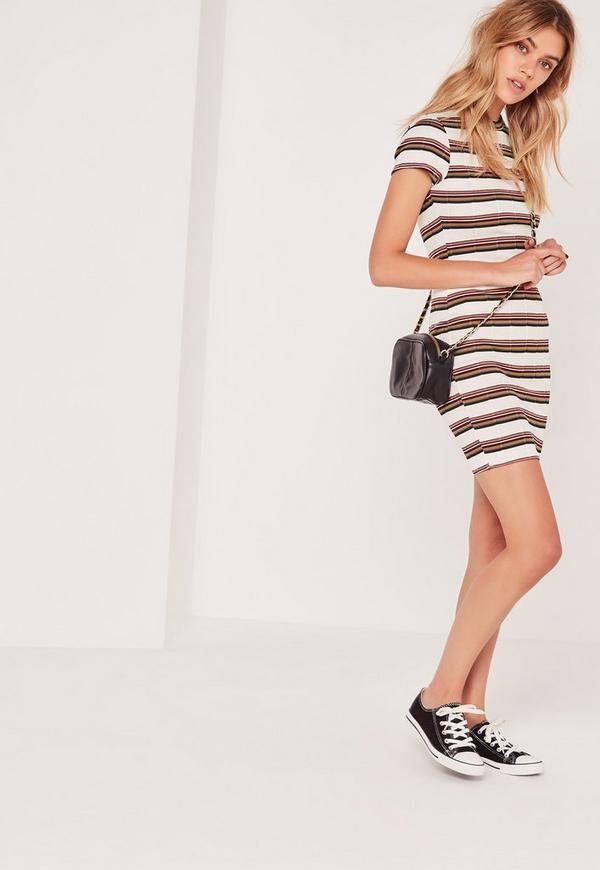 Multi Stripe Bodycon Mini Dress