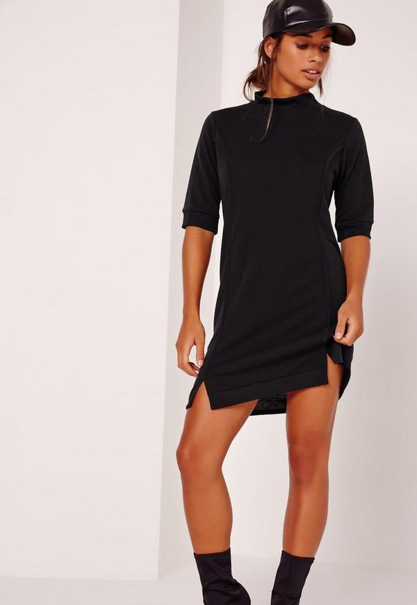 Oversized Rib Trim Dress black