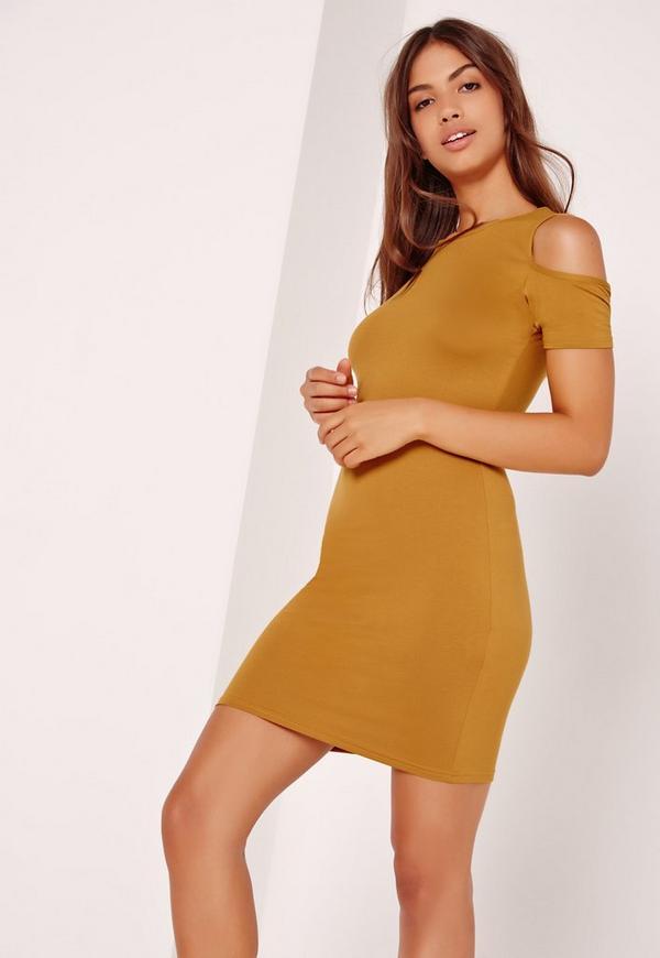 Cold Shoulder Mini Dress Yellow