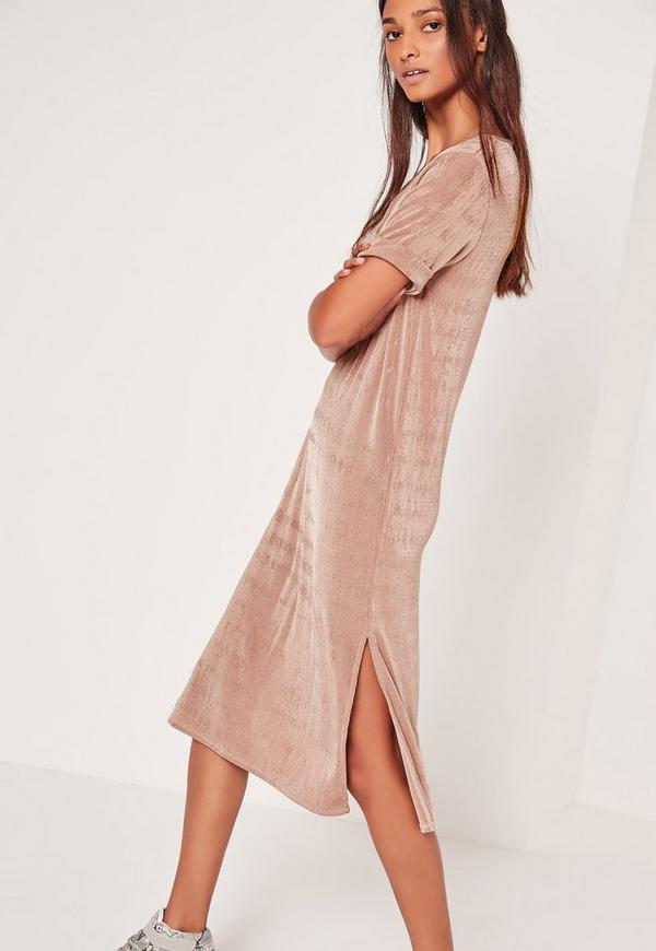 Slinky Oversized Midi Dress Rose Gold