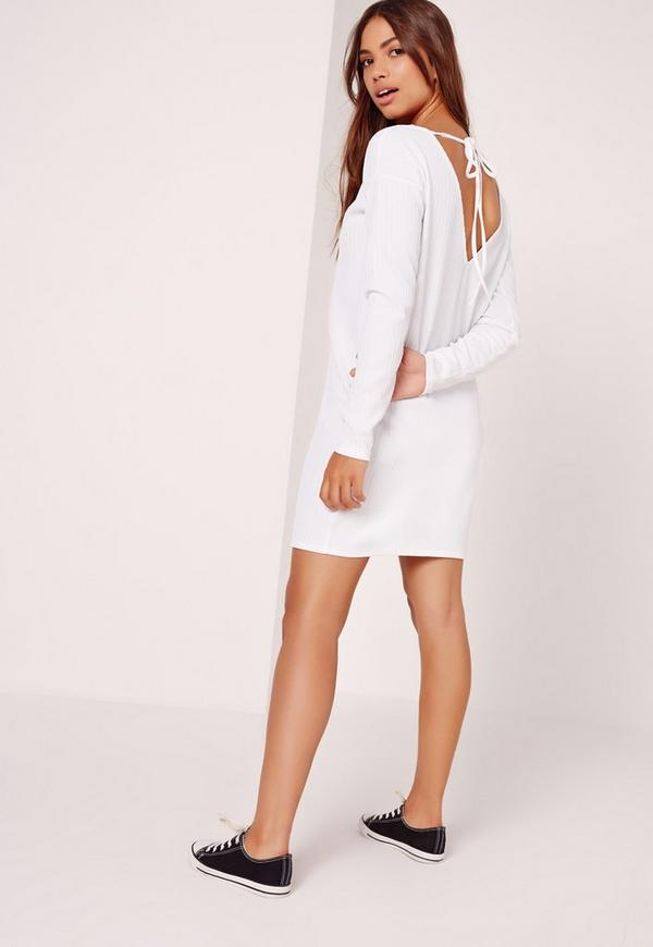 Crinkle Oversized T-Shirt Dress White
