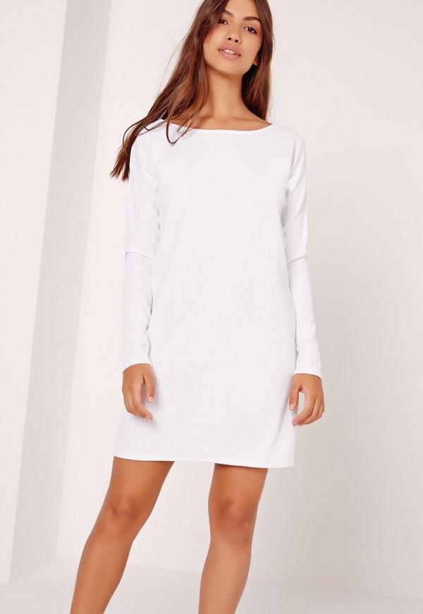 Crinkle Oversized T Shirt Dress White Missguided