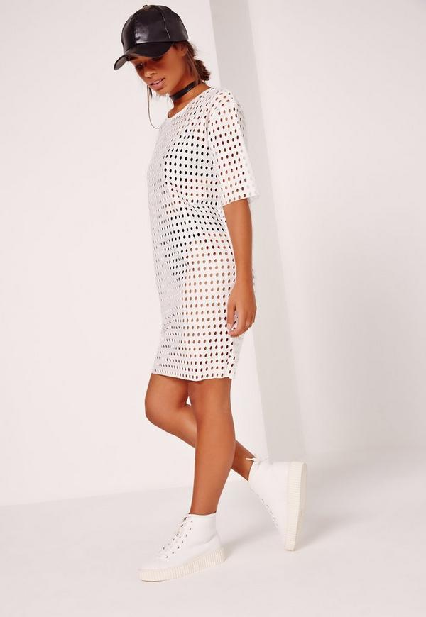 Fishnet T-Shirt Dress White