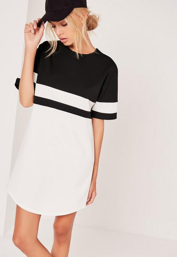 Contrast Curve Hem Oversized Dress Mono