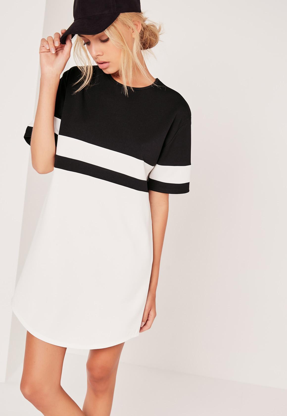 Oversize-Kleid im Kontrastdesign mit geschwungenem Saum in Schwarz ...
