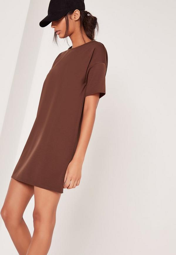 Scuba T-Shirt Dress Brown