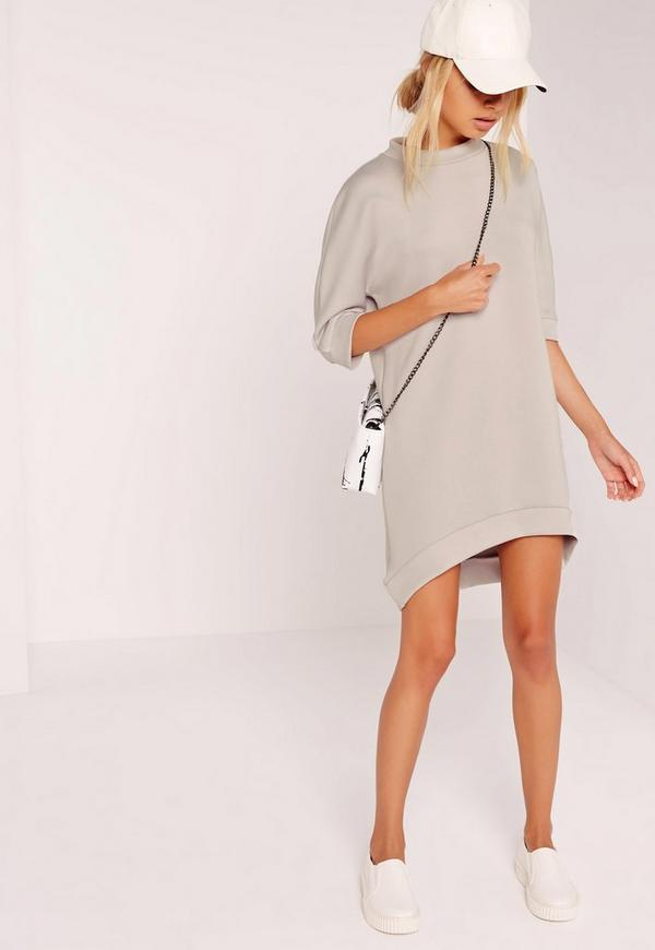 Curve Hem Oversized Scuba Dress Grey