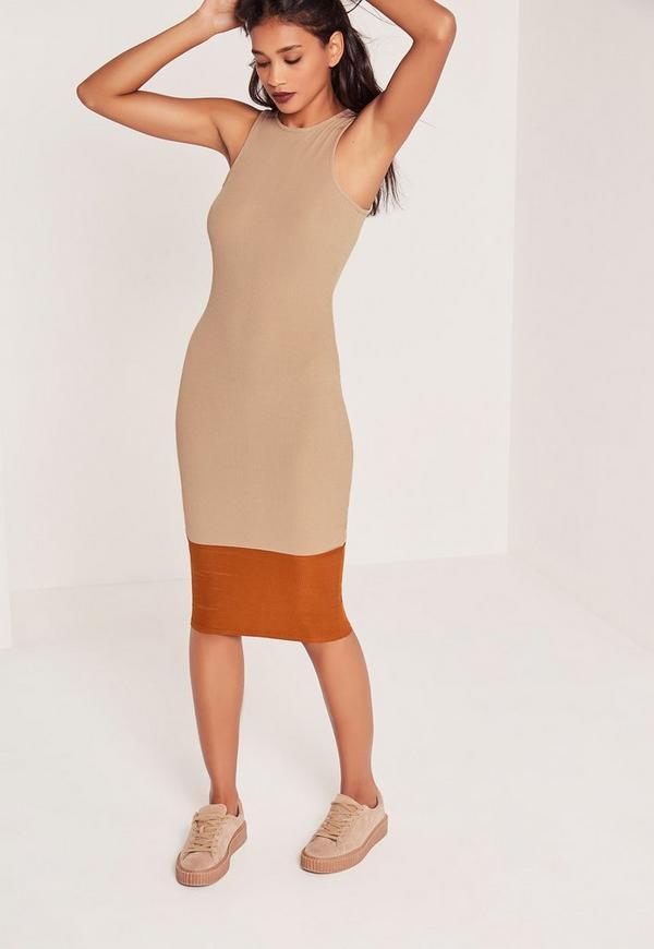 Rib Contrast Bottom Midi Dress Nude