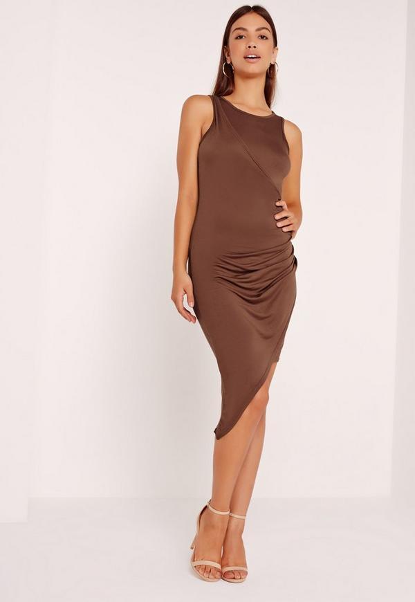 Asymmetric Midi Dress Brown